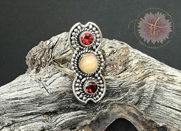 Opal & Double Garnet Ring