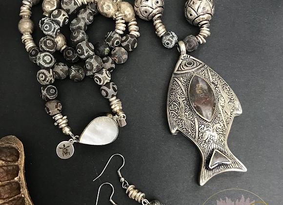 Fishing in Nepal Necklace & Earrings Set