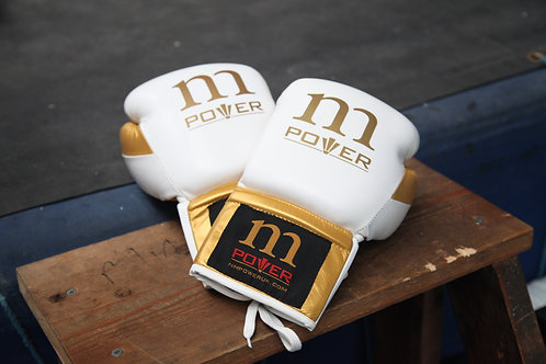White/Gold Highest Quality Genuine Mexican Leather Gloves