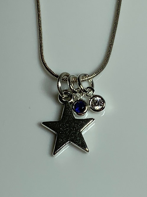 Star with Two 4mm Cubic Zirconia Charms