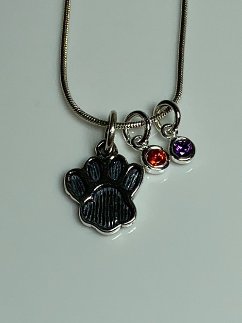 Tiger Paw with Two 4mm CZ Charms