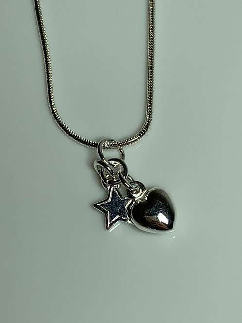 Heart and Star Charm Necklace