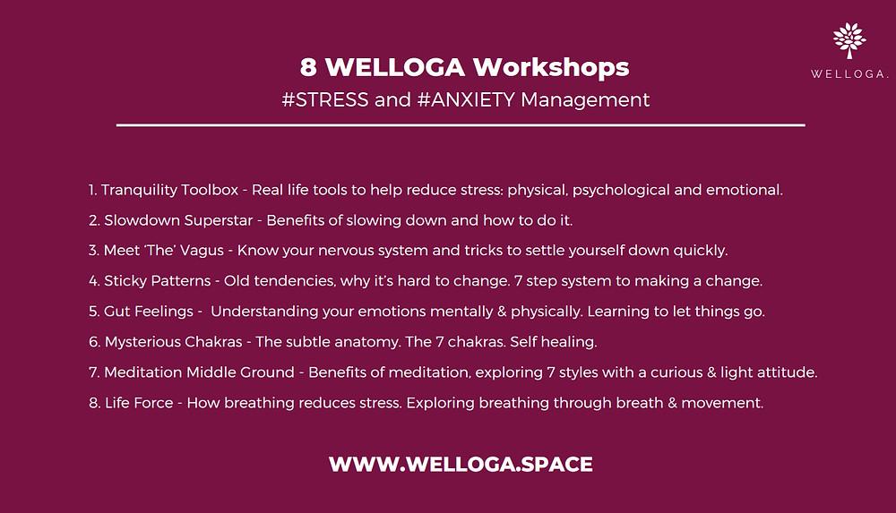 welloga. wellness workshops. stress management. anxiety managment. welloga. yogi jennifer doheney. slowing down. meditation. movement workshops. Chakra workshops. Mediation for beginners. tools to reduce stress.