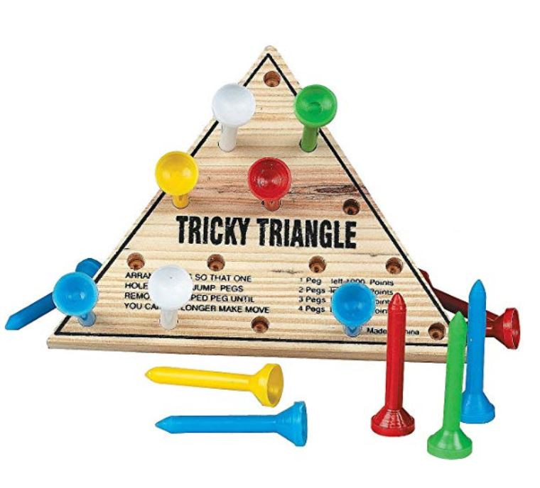 vacation rental game idea: peg board tricky triangle