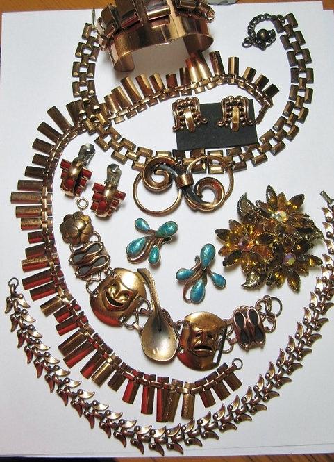 THREE RENOIR MATISSE LOTS Copper jewelry 18 pieces