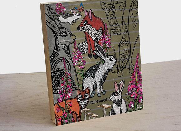 Fox & Rabbit Wood Art Panel