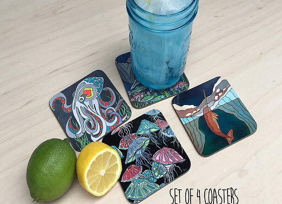 Nautical Creature Coasters. Set of 4