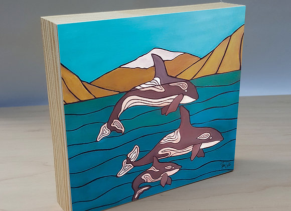 Orcas in the Bay wood art panel