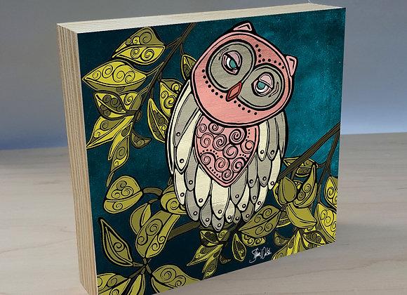 Owl 2 wood art panel