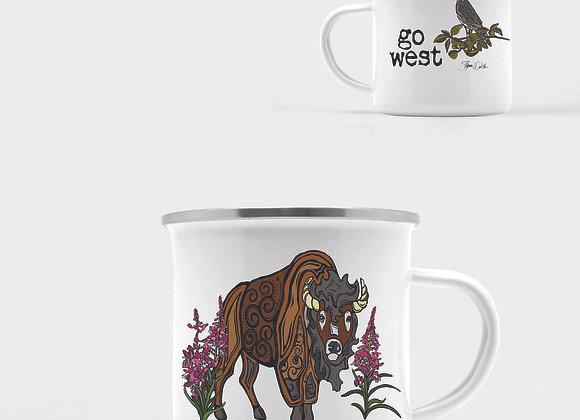 Go West Bison Enamel Camp Mug