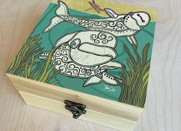 Beluga Whale & Dragonfly Wood Box