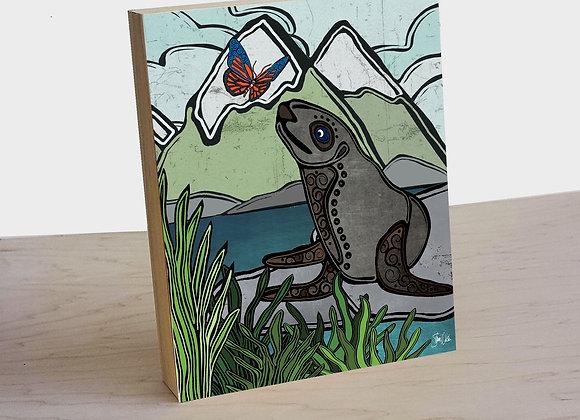 Sea Lion & Butterfly Wood Art Panel