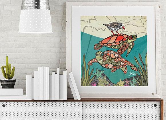 Sea Turtle & Bird