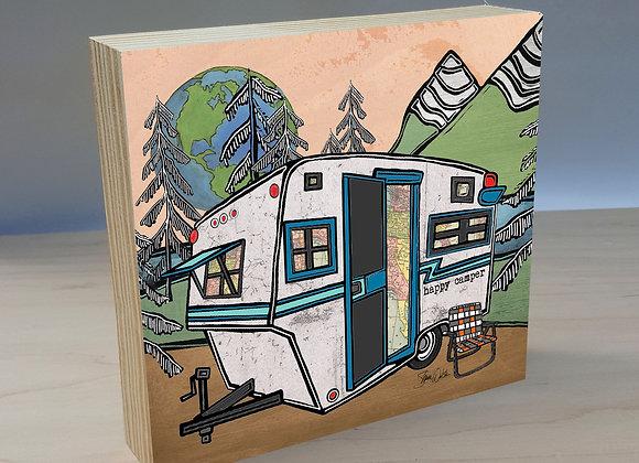 Vintage Camper Trailer 2 wood art panel