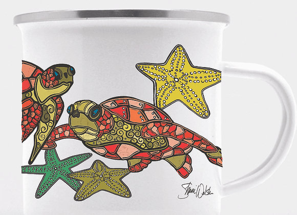Sea Turtle Enamel Camp Mug
