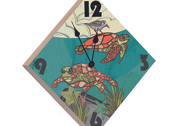 Sea Turtle Wood Panel Clock