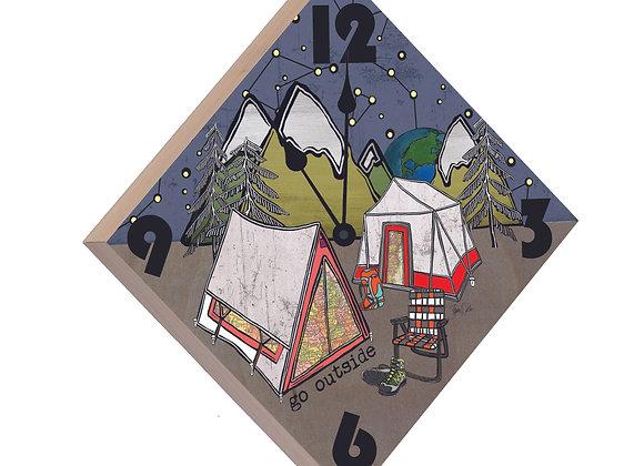 Tent Camping Wood Panel Clock