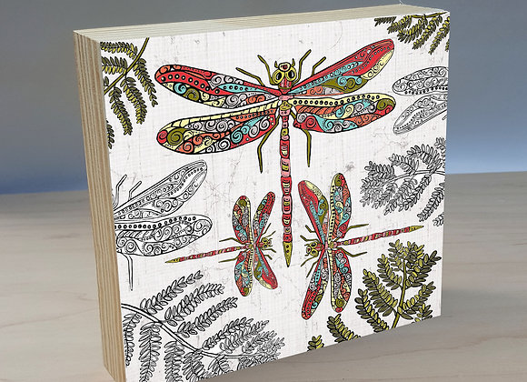 dragonfly wood art panel