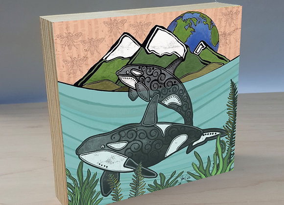 Orcas wood art panel