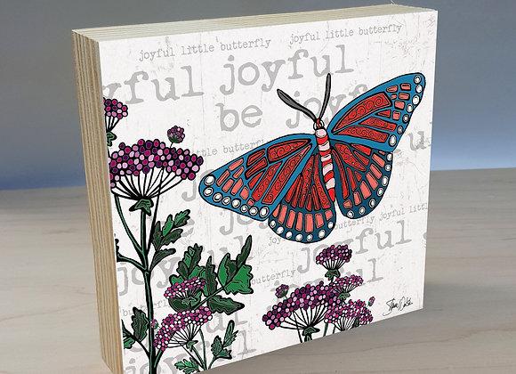 Joyful Butterfly wood art panel