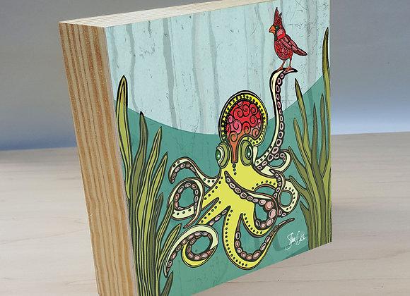 Octopus and Cardinal wood art panel