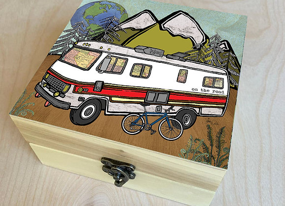 Go Outside Vintage RV Wood Box