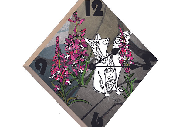 Fox & Fireweed Wood Panel Clock