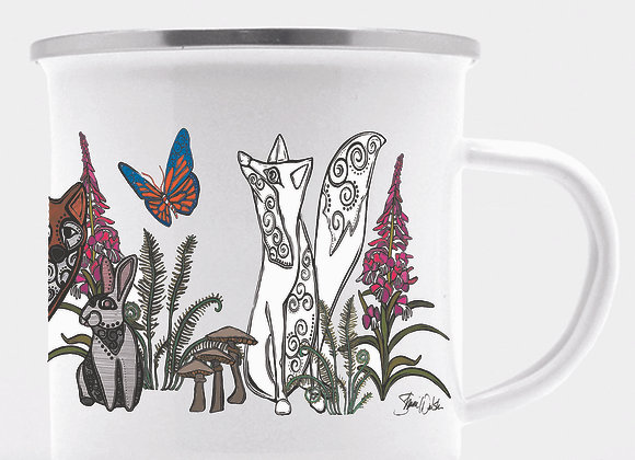Fox & Rabbit Enamel Camp Mug