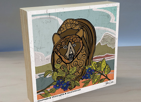 Grizzly Bear wood art panel
