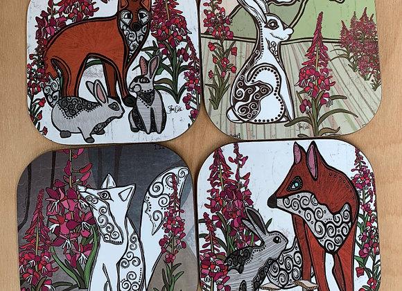 Fox, Rabbit & Fireweed Coasters - Set of 4