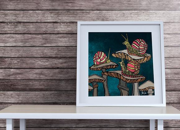 Snail & Mushroom Print