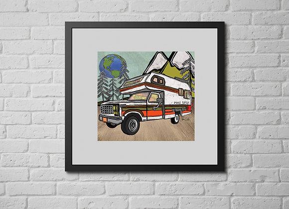 Vintage Truck Bed Camper Overlander Print