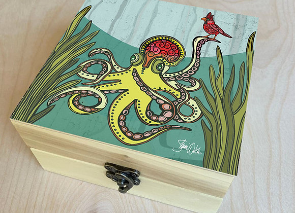 Octopus & Cardinal Under the Waves Wood Box