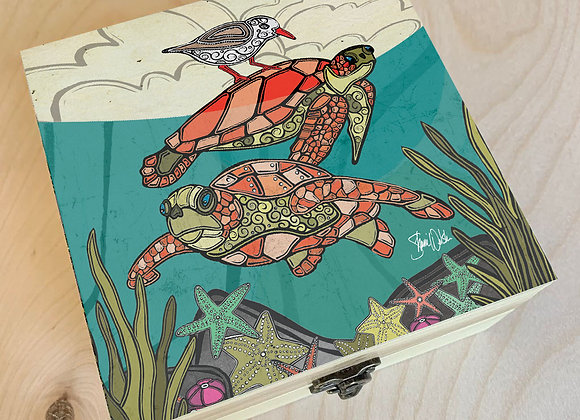 Sea Turtle Under the Waves Wood Box