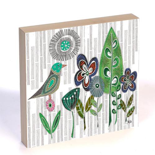 Mid Century Modern Bird Flowers Wood Art Panel