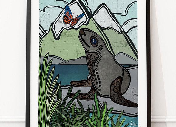 Sea Lion & Butterfly art print