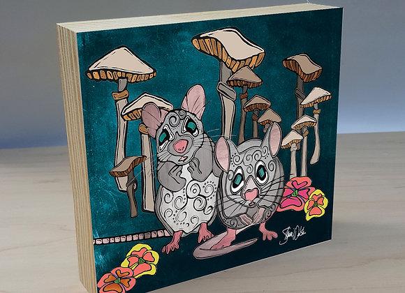 Mice & Mushroom wood art panel