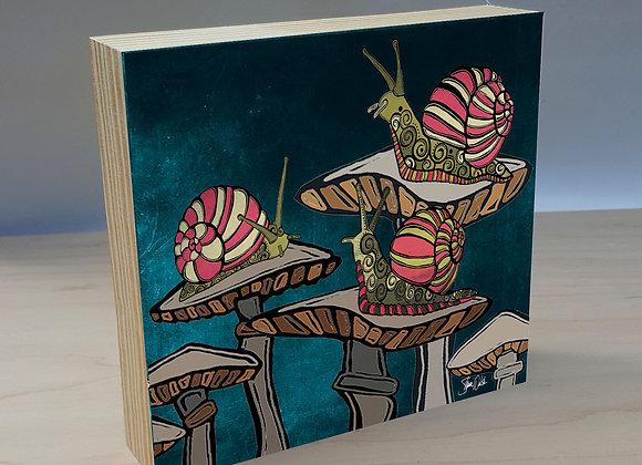 Snail & Mushroom Wood Art Panel