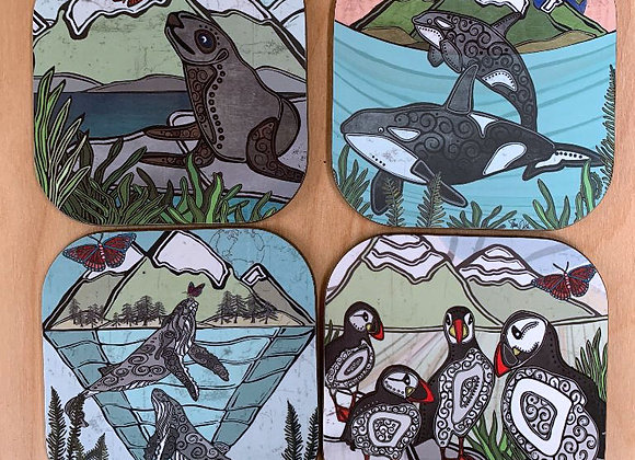 Under the Waves 1 Coasters - Set of 4
