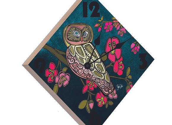 Owl Wood Panel Clock
