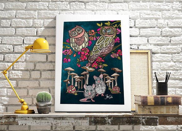 Owl & Mice art print