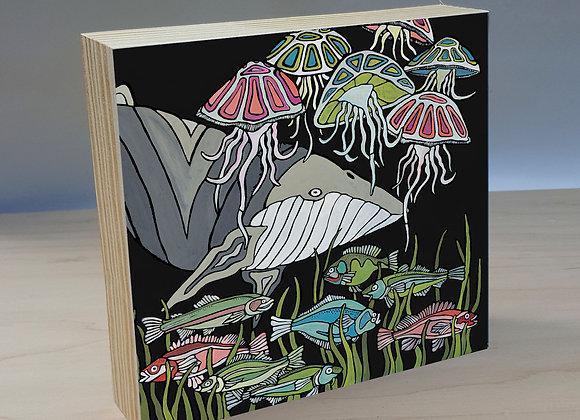 Sea Life wood art panel