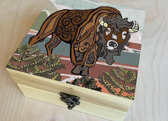 Go West Bison Wood Box