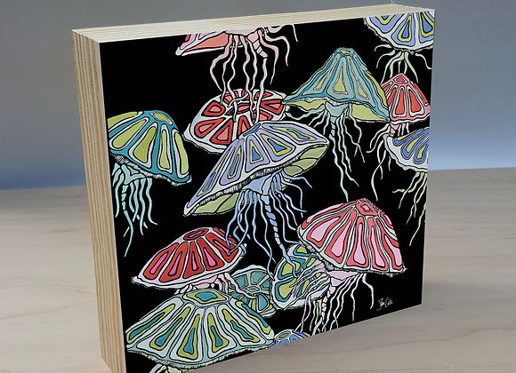 Jellyfish Wood Art Panel