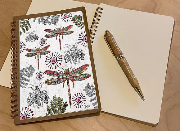 Dragonfly & Firefly Spiral Journal