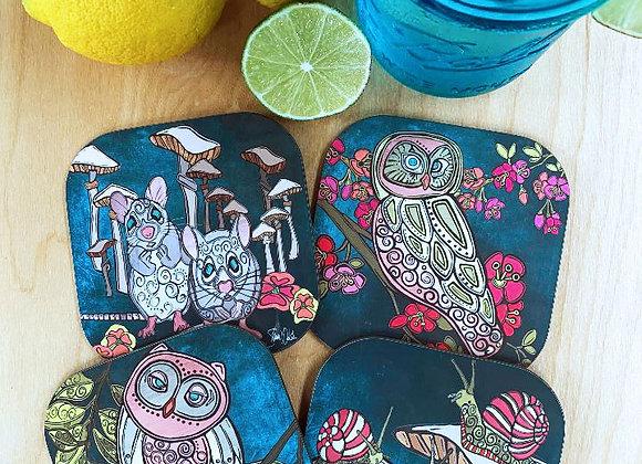 Owl & Mice Coaster Set