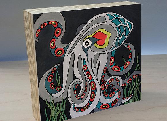 Octopus wood art panel