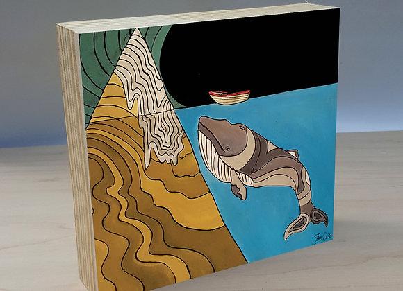 Whale & Boat wood art panel