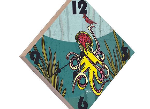 Octopus & Cardinal Wood Panel Clock