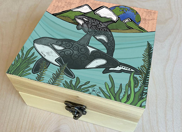 Orca Under the Waves Wood Box
